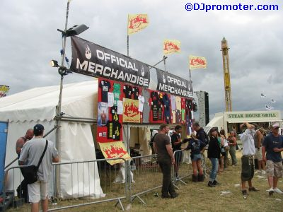 Global Gathering merchandise stall