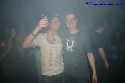 Two clubbers posing for the camera